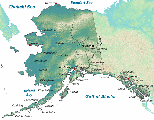 map of Alaska with Fish and Game office location