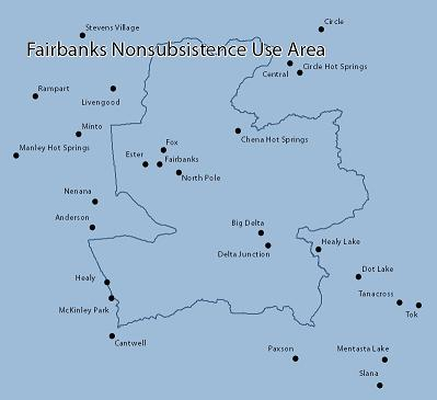 Map of Fairbanks Nonsubsistence Area